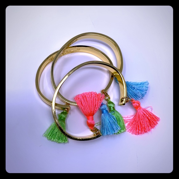 Lilly Pulitzer Jewelry - NWT Lilly Pulitzer 3 piece bangle set with tassels